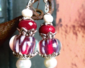 "Glass Artist Lampwork Glass Beads- Handmade Earrings- Red, White, Hot Pink, Magenta  ""Orchid Kiss"""