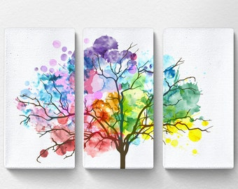 Rainbow Watercolor Tree Canvas, Tree Canvas Art, Nature Canvas Art, Tree Artwork, Rainbow Art, Chakra Art, Large Canvas Wall Art