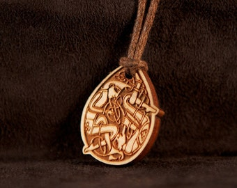 Celtic Art Pendant, Etched in Cherry Wood. Adapted from The Book of Kells.