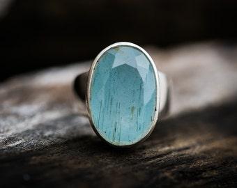Aquamarine Ring - Aquamarine and Sterling Silver - Ring Size 7.5 - Aquamarine Sterling Silver Ring - Beautiful Aquamarine Ring