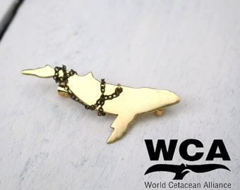 Limited Edition Brass Gold Whale Brooch - WCA Untangled Project - Ocean Conservation -  25% of profits go to charity! Eco Jewellery