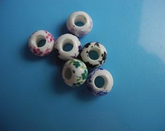 6 pc/set porcelain dreadlock beads very rare and beautiful 5.5 mm hole