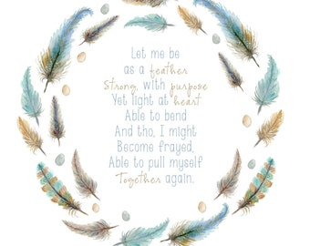 Feather Wreath Inspirational Quote Saying Browns Blues
