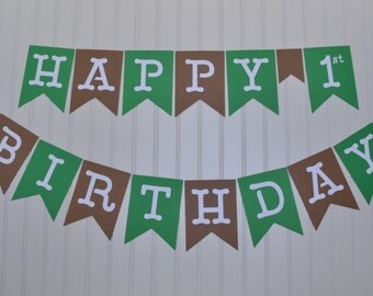 Happy First Birthday Banner, Boy 1st Birthday Banner, I am One Party, First Birthday Banner, Green and Brown Banner, Football Colors