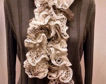 Red heart knitted shuffle ruffled scarf - variegated tans and off whites scarf