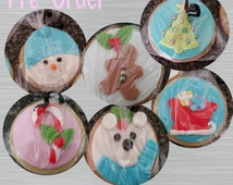 """Christmas Sugar Cookie 2""""- 12 Sugar Cookies Decorated With Marshmallow Fondant-Party Favors"""