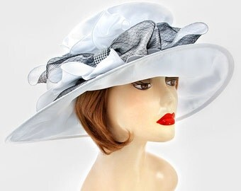 New for 2017 White Wedding Dress Crystal Feather Accented Bow Trim Lady's Kentucky Derby Hat Womens Wide Brim Church Sun Hat New
