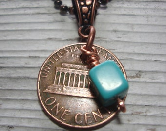 Penny Necklace with Turquoise Charm, USA Coin Pendant, 40th Birthday Jewelry, Upcycled Pendant, Coin Jewelry, Coin Necklace, Unique Gift