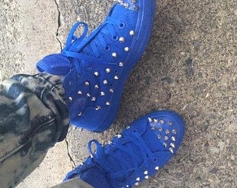 Custom All Blue Studded/Spiked Converse