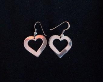 Vintage Sterling Silver Heart Earrings, Dangling Heart Earrings