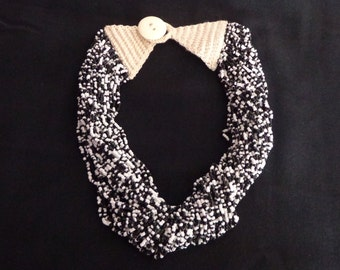 Black and White Multistrand Seed Bead Necklace