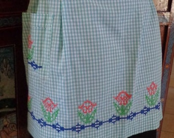 Sale Handmade Embroidered Half Apron,Vintage Green Checkered Half Apron,Green Half Apron with Embroidered Flowers