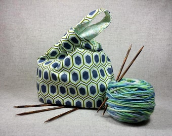 Project Knitting Bag with flowers, light green, mint, japanese knot bag, WIP bag