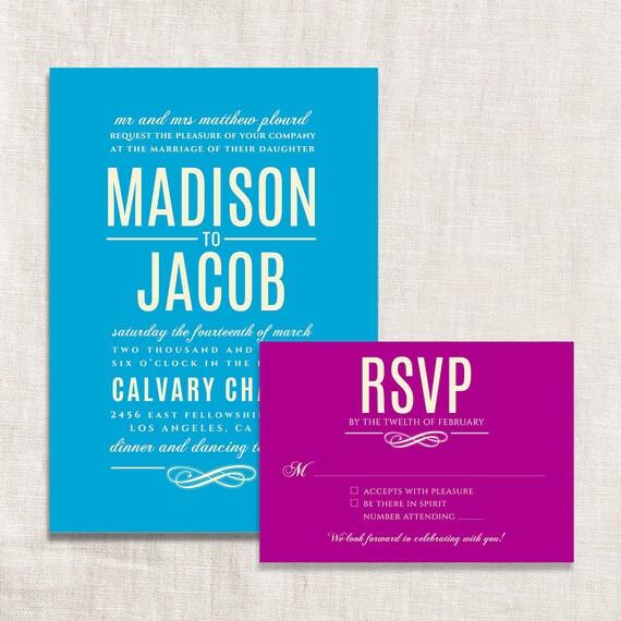 Colorful custom digital wedding invitation and rsvp card for Digital wedding invitations with rsvp