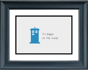 TARDIS - It's bigger on the inside - Doctor Who - PDF Cross-Stitch Pattern - Dr Who - tardis