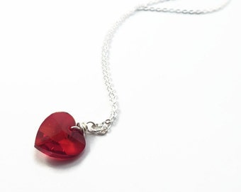 Red Heart Necklace, Heart Necklace, Valentines Day Gift, Gift for Her, Heart Pendant, Silver Necklace, Valentines Jewelry (B85)