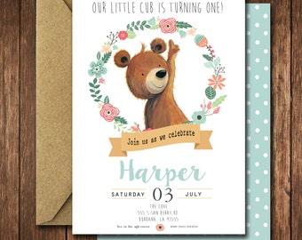 Bear Birthday Party Invitations -Floral Bear cub Little Woodland Birthday Party Invites - vintage baby first birthday