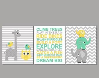 Mint, yellow and grey Nursery Art Print Set, Baby boy Room Decor, giraffe, elephant, owl, bird, boy rules dream big- UNFRAMED