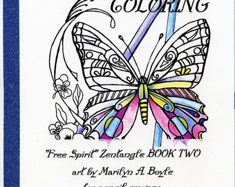 ADULT COLORING BOOK; 10 pages, Zentangle, for pencil crayons, cats, owls, butterflies, flower, leaves, rooster