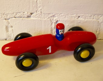 Red Wooden Toy Racing Car No.1