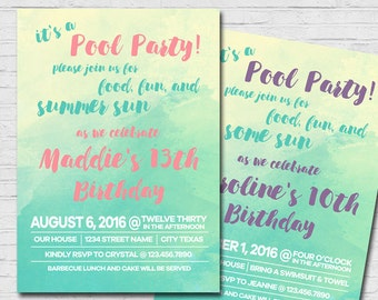 Watercolor Pool Party Teen Girl Birthday Invitation Summer Swim Party Invite Tween Girl Invitation Any Age Girl Invite pink Printable PDF