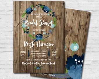 Rustic Wood Floral Bridal Shower Invitation Flowers Wedding Shower Invite Blue Flowers Vintage Shower Invitation Digital Printable PDF JPG