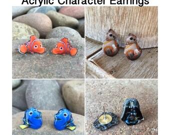 Acrylic Character Post Earrings