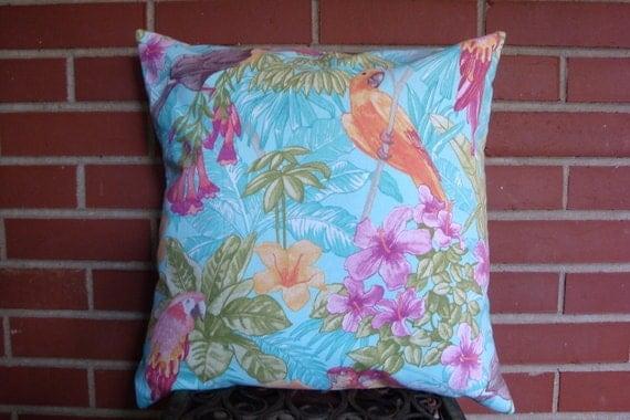 Throw Pillow. Floral Pillow. Pillow Cover. Blue Pillow. Parrot Pillow. Bird Pillow. Tropical Pillow