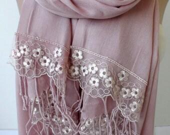 Light Old Rose Pashmina Shawls French Lace Bridesmaid pashmina shawls Women Wedding Fashion Feminine Wedding Bridal Shawls Mothers Day