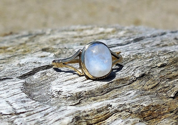 vintage moonstone unique engagement ring by