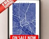 Dallas Map Print - Texas Art Poster
