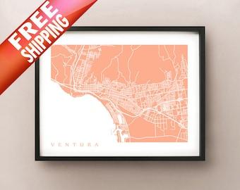 Ventura Map Art - Southern California Poster Print - City of San Buenaventura, Shisholop, Ventura College