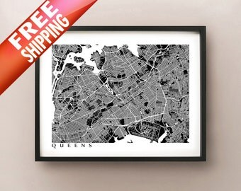 Queens Map Print - New York Poster