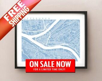 Pittsburgh Map Art - Pennsylvania Poster Print