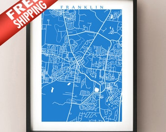 Franklin Map Print - Tennessee Poster Art