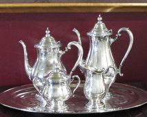Camille Silver Plated Tea Service by International Silver, 4-Piece Tea Set, Coffee pot, Teapot, Sugar bowl, Creamer