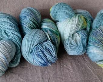 Cloud number nine, aquamarine, Merino Wool, soft, sock yarn, hand dyed