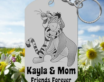For MOM, Tigger & Eeyore Keychain Gift, Personalized! Cute Fun
