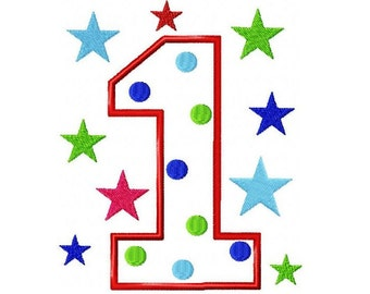 First Birthday Number One Applique Embroidery Design 5x7 -INSTANT DOWNLOAD-