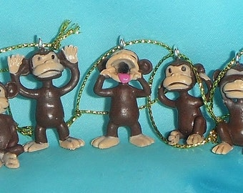 Set of Five - Funny Monkey - Set 2 - Free Shipping - Mini Christmas Ornaments