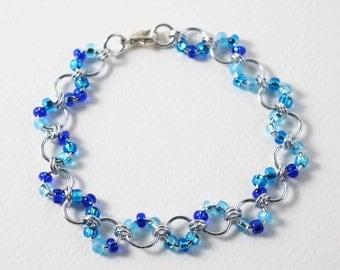 8 inch Shaded Blue Waves Bracelet