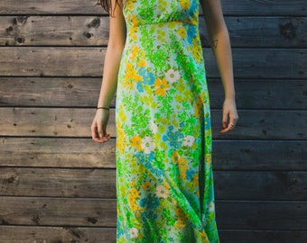 Vintage Floral Green Slip Dress with Lace and Flower Pattern / Yellow White Tropical Inspired / Honolulu / Evening Maxi Dress with Zipper