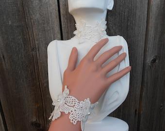 Ivory Lace Choker and Matching Bracelet Set - Victorian, Wedding, Formal, Prom, Evening, Renaissance