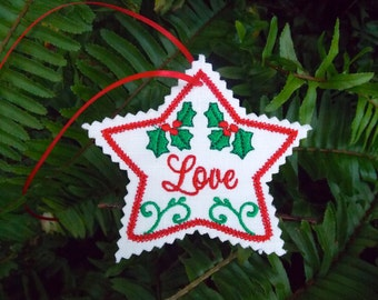Christmas ~ Holiday ~ Wreath ~ Decoration Love Star Ornament Machine Embroidered on White Linen with Green ~ Red ~ Holly ~ Ribbon Hanger