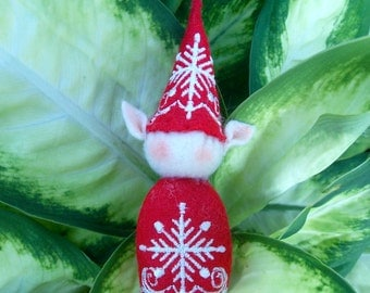 Elf Ornament ~ Decoration ~ Christmas ~ Holiday Stuffed Red Felt with White Snowflake
