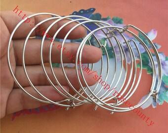 New Style --Wholesale 20pcs 63mm Silver Round bangle bracelets blanks/wire bracelets blanks