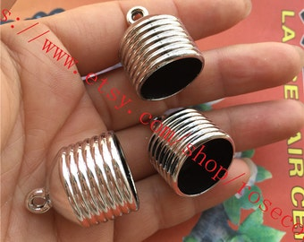 Large-Wholesale 100pcs 26x20mm CCB Plastic Silver Tassel Caps/end cap terminators findings--hole 18mm