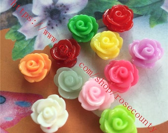 Wholesale 100pcs 10mm assorted(10 colors) resin rose flower Cabochons/cameos