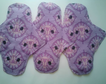 Organic Cotton/Hemp and/or Bamboo Cloth Reusable Menstrual Pad // Uterus Print