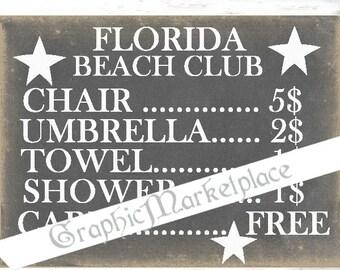 Chalkboard Florida Beach Club Towels Instant Download Transfer Burlap digital collage sheet graphic printable No. 262